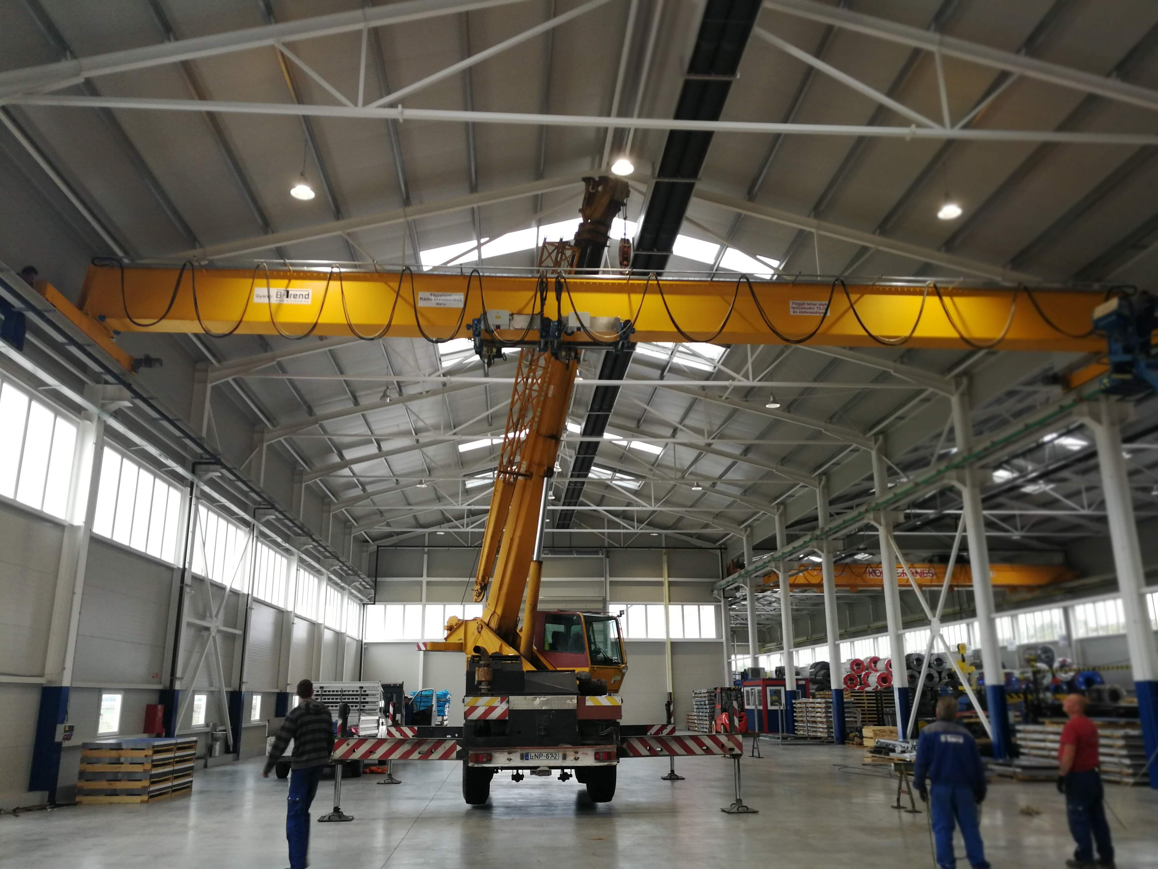 FerroPatent BEH 2×6,3t / 20m Egyfőtartós híddaru gyártás, telepítés